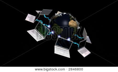 Laptops Connected To Planet Earth