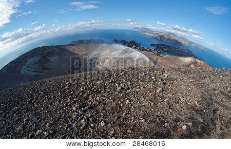 Fisheye view of volcano crater on Aeolian islands