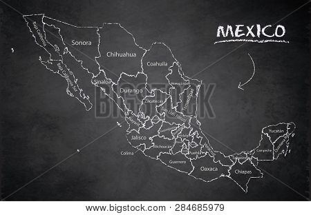 Mexico Map, New Political Detailed Map, Separate Individual States, With State Names, Card Blackboar