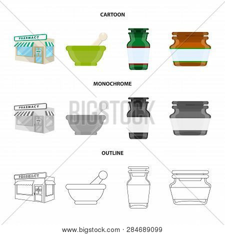 Vector Illustration Of Retail And Healthcare Symbol. Collection Of Retail And Wellness Stock Symbol
