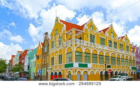 Willemstad, Curacao, Netherlands Antilles. Colourful Houses And Commercial Buildings Of Punda, Wille