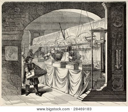 Gobelins Manufactory old illustration, workshop interior. By unidentified author, published on Magasin Pittoresque, Paris, 1845