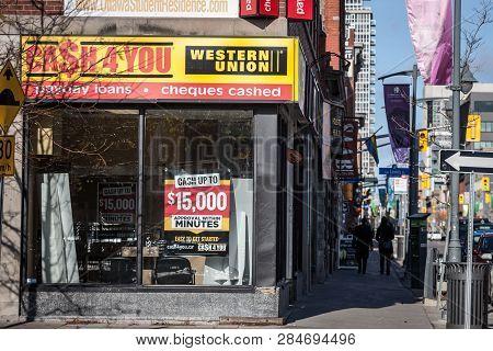 Ottawa, Canada - November 11, 2018: Cash4you Logo In Front Of Their Boutique In Ottawa, Ontario. Cas