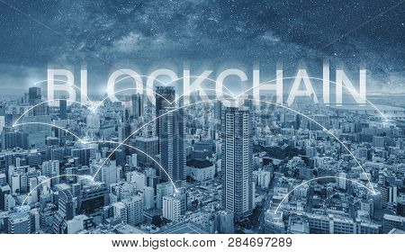 Blockchain Technology, Cityscape And Connections Link In The City