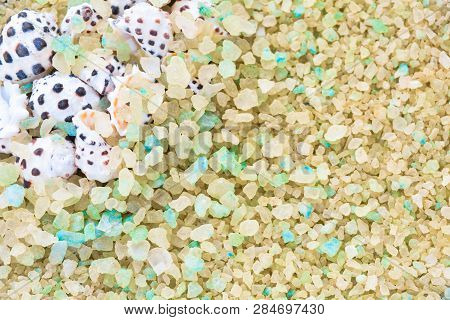 Sea Shells On Crystals Of Aromatic Bath Sea Salt For Spa May Use As Summer Background Or Frame. Summ