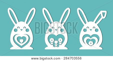 Bunny. Easter Eggs In The Form Of Rabbits. A Set Of Templates For Cutting Paper, Laser Cutting And P