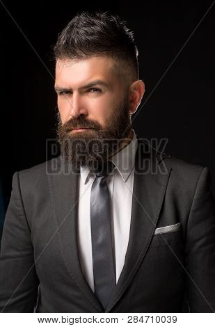 Man Suit Fashion. Meeting Suit. Businessman In Dark Grey Suit. Man In Classic Suit, Shirt And Tie. B