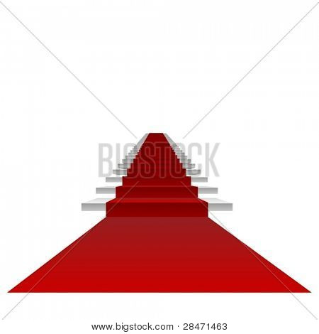 Vector or vectorial concept or conceptual 3D white stair and red carpet isolated on white background,