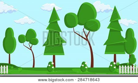 Landscape Design Flat Vector Illustration. Tree, Fence Design Element With Text Space. Web Banner, P