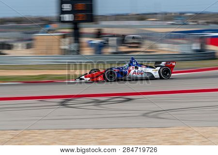 February 13, 2019 - Austin, Texas, USA: TONY KANAAN (14) of Brazil goes through the turns during practice for the IndyCar Spring Test at Circuit Of The Americas in Austin, Texas.