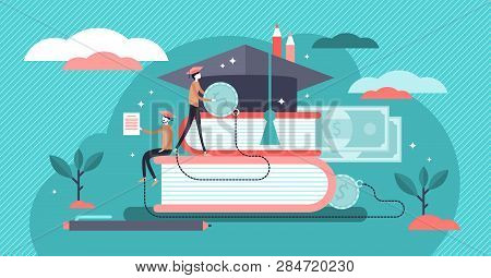 Student Loans Vector Illustration. Flat Tiny Study Finance Persons Concept. Education Investment Ban