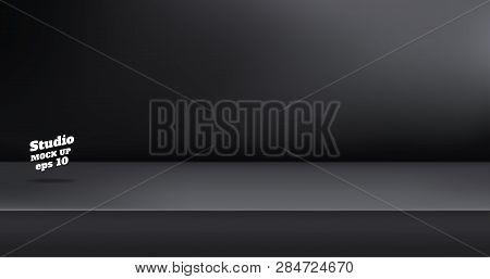 Vector,empty Black Color Studio Table Room Background ,product Display With Copy Space For Display O