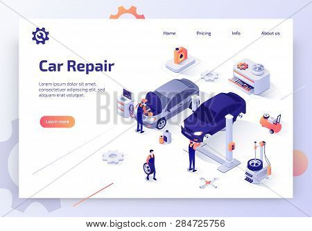 Car Repair Service, Auto Diagnostic, Maintenance Station Isometric Vector Web Banner. Skilled Automo