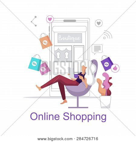 Online Shopping. Woman Chooses Shopping Store Home. Young Girl Sitting Chair With Laptop And Orders
