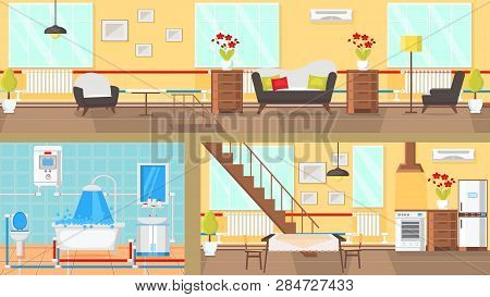 Rooms Interior Concept Flat Vector Illustration. Living Room, Bathroom, Dining Room, Kitchen. Articl