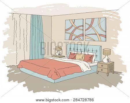 Bedroom Color Graphic Home Interior Sketch Illustration Vector