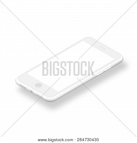 Clean Smartphone With Blank Screen Isolated On White Background. New Version White Slim Smartphone W
