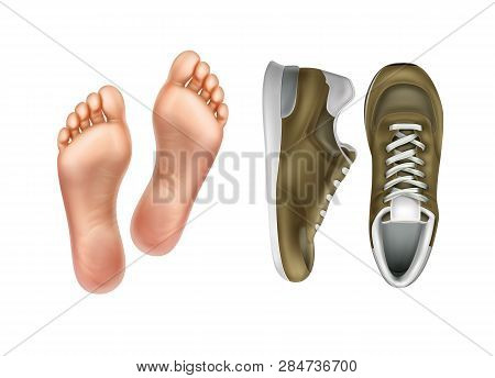 Vector Illustration Of Left And Right Foot Soles For Footwear, Pair Of Sport Shoes Isolated On Backg