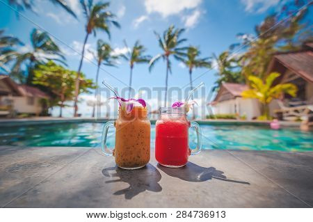 Sweet Dessert Fruit. Exotic Tropical Beach Background. Juicy Natural Fruit. Healthy Nutrition. Sea A