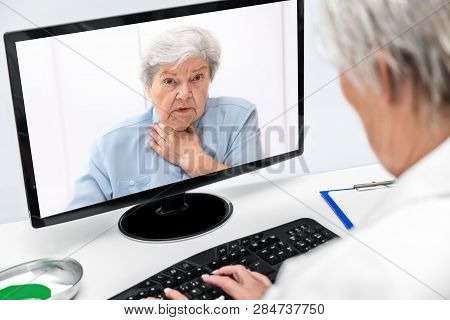 Telemedicine And Ehealth With A Elderly Woman And A Female Doctor, Online Diagnostic