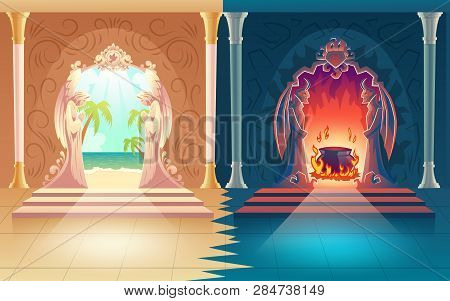 Moral Choice, Afterlife Reward Or Payoff Cartoon Vector Concept. Heaven And Hell Gates With Figures