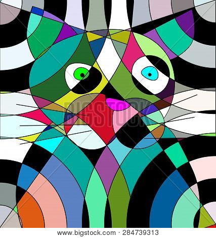 Colored Background Image Portrait Of The Abstract Cat