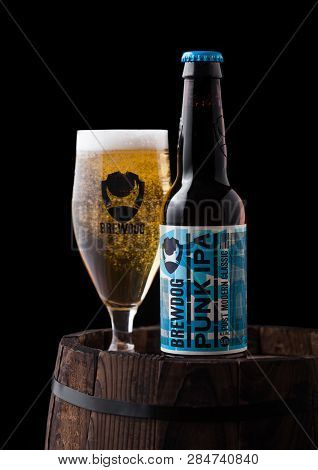 London, Uk - February 06, 2019: Bottle And Glass Of Punk Ipa Craft Beer, From The Brewdog Brewery On