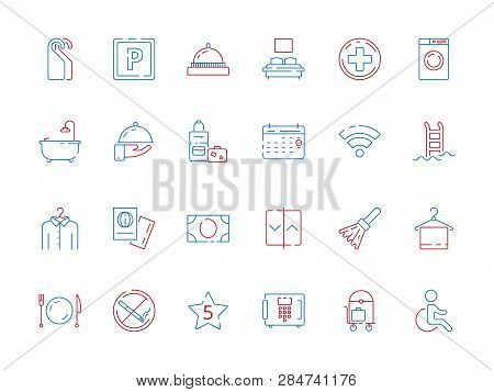 Hotel Related Symbols. Bathroom Hospital Travel Places Spa Breakfast Area Toilet Wifi Zone Hotel Col