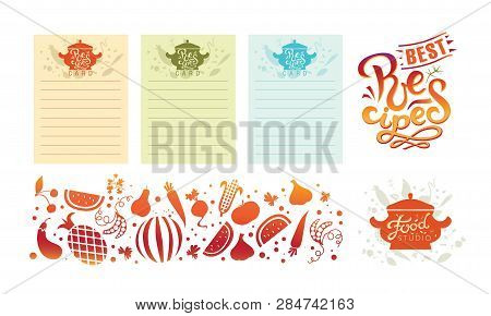 Hand-drawn Recipes. Vector. Card For Recipe Book. Illustration Of A Tureen With Text Recipes. For A