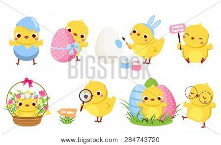 Cute Easter Chickens Set. Cartoon Chicks In Different Poses With Eggs And Flowers Having Fun. Isolat
