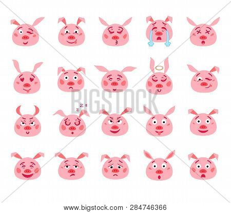 Set Of Cartoon Emotional Pink Pig. Vector