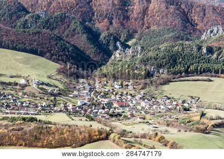View To Sulov Village From Kecka Hill In Sulovske Skaly Mountains During Beautiful Autumn Day
