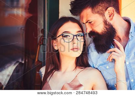 There Are No Rules In Fashion. Couple Of Lovers With Fashion Style. Sexy Woman And Bearded Man In Lo