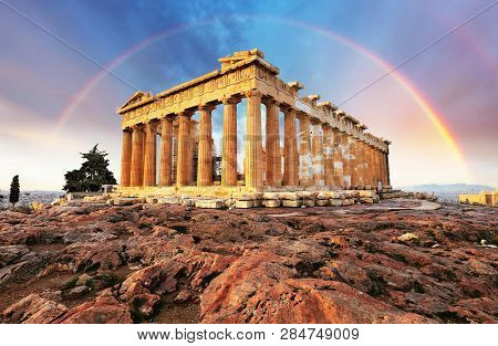Athens In Greece - Acropolis With A Rainbow