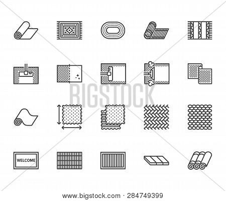 Carpet Cleaning Flat Line Icons Set. Rug Steaming, Bamboo Mat, Persia Carpets, Flooring Vector Illus