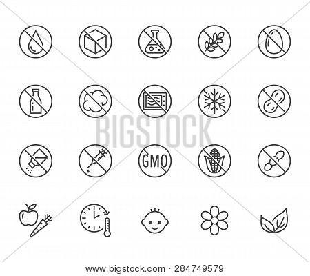 Natural Food Flat Line Icons Set. Sugar, Gluten Free, No Trans Fats, Salt, Egg, Nuts, Vegan Vector I