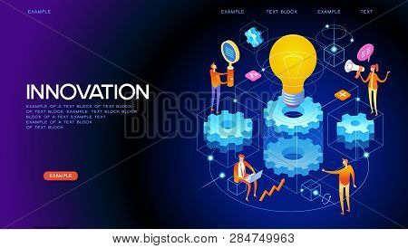 Banner Innovation Concept. Modern Business Technology. People Interact With Gears And Lamp. 3d Vecto