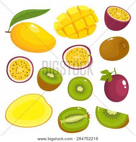 Vector Set Of Colorful Kiwi, Mango, Passionfruit Isolated On White