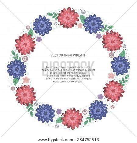 Floral Doodle Hand Scetched Wreath. Round Flat Flower Frame. Save The Date Circle Border For Text. T