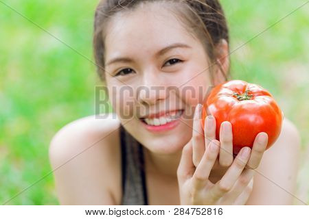 Teen With Tomato Smile Happy Good Healthy Skin Eating Vegetable Rich Lycopene.