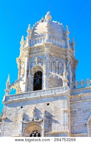 Lisbon, Portugal Landmark, Bell Tower Of Jeronimos Monastery Or Hieronymites Monastery