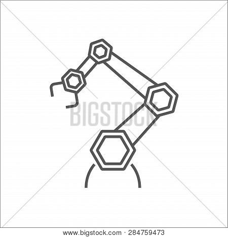 Robotic Arm Line Icon On White Background. Mechanical Hand. Industrial Robot Manipulator. Modern Ind