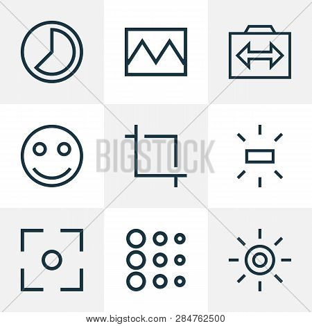 Picture Icons Line Style Set With Center Focus, Capture, Brightness And Other Center Focus Elements.