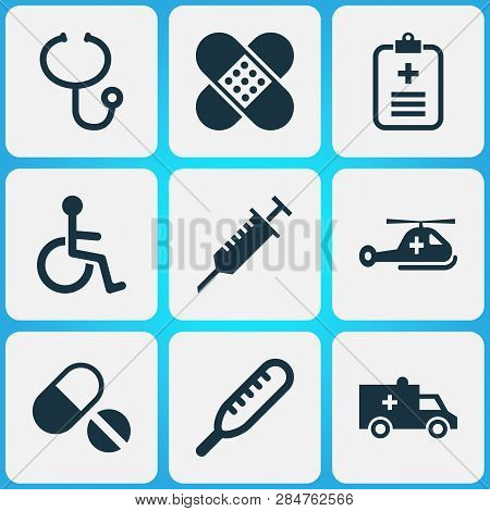 Drug Icons Set With Helicopter, Stings, Brougham And Other Disabled Elements. Isolated Vector Illust