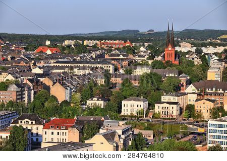 Chemnitz, Germany (state Of Saxony). Urban Cityscape Aerial View In Warm Sunset Light Of Sonnenberg