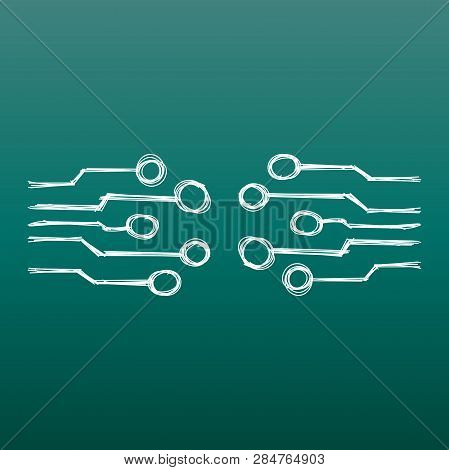 Hand Drawn Circuit Board Icon. Doodle Scetch Technology Scheme Symbol Flat Vector On Green Backgroun