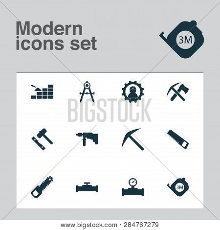 Industry Icons Set With Pipe With Sensor, Roulette, Working And Other Pickax Elements. Isolated  Ill