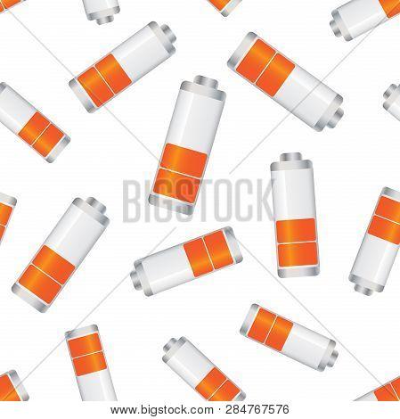 Battery Level Indicator Seamless Pattern Background. Business Flat Vector Illustration. Battery Symb