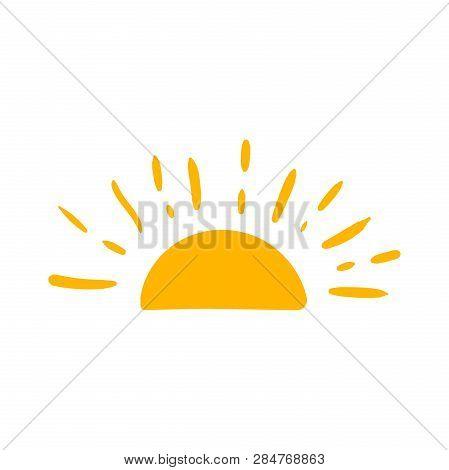 Hand Drawn Sun Vector Icon. Sun Sketch Doodle Illustration. Handdrawn Sunshine Concept.