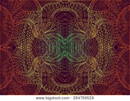 Psychedelic Trippy Colorful Fractal Mandala, Gradient Bright Color Outline, On Dark Brown Background